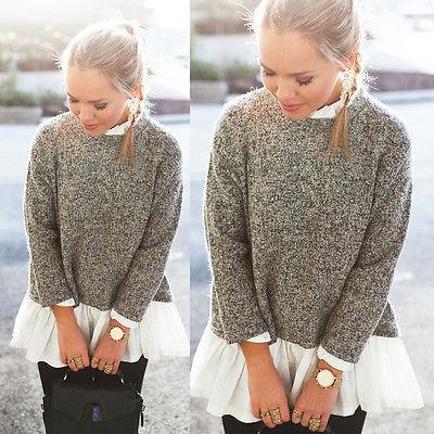 Women Long Sleeve Loose Knitted Sweater Jumper Knitwear Outwear Coat