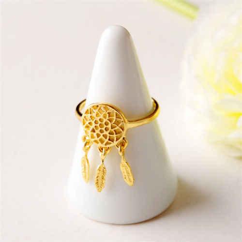 1ชิ้นผู้หญิงเลดี้D Ream Catcherแหวนเสน่ห์ขนจี้ฝันจับที่ต้องการแหวนวินเทจ