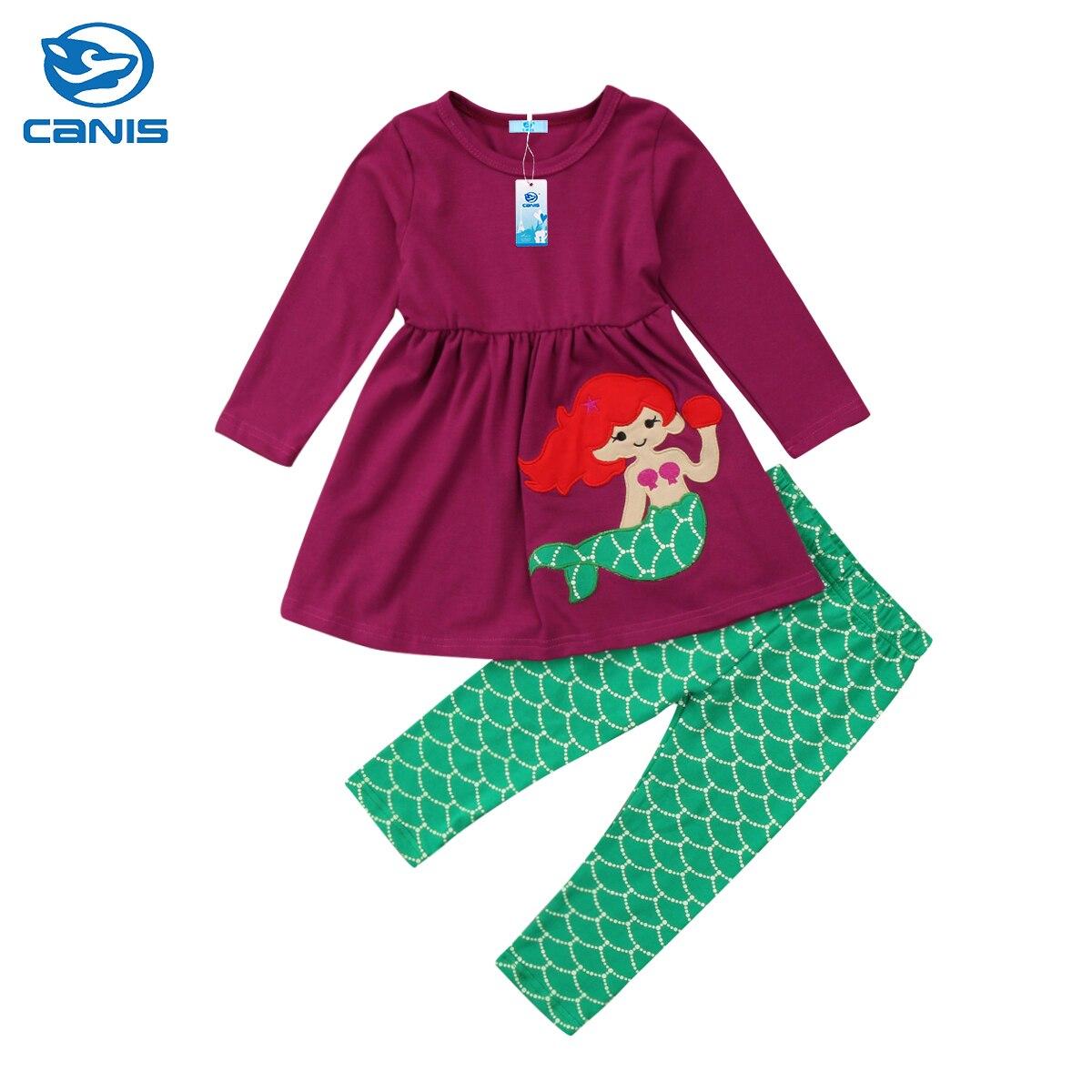 2018 Brand New 2pcs Toddler Infant Child Kid Girls Long Sleeve T-shirt Tops Long Pants Outfits Clothes 2Pcs Mermaid Set 1-6T girls baby long sleeve tops t shirt bib cartoon minnie 2pcs outfits set 1 5y