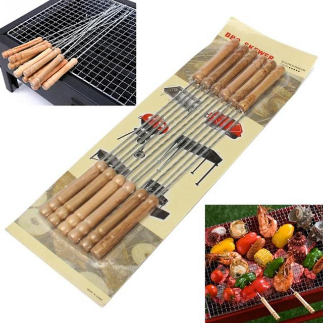12pcs / Set Stainless Steel BBQ Tools Thickened Wood Handle Barbecue Sticks  Grill Food Skewer For