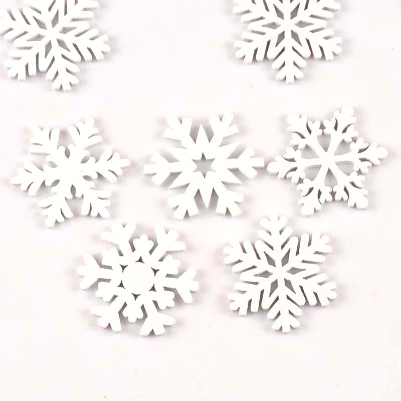15Pcs/lot Christmas Snowflake White Wood Decoration Handicraft DIY Crafts Scrapbooking Wooden Ornament Accessories 35mm m1782(China)