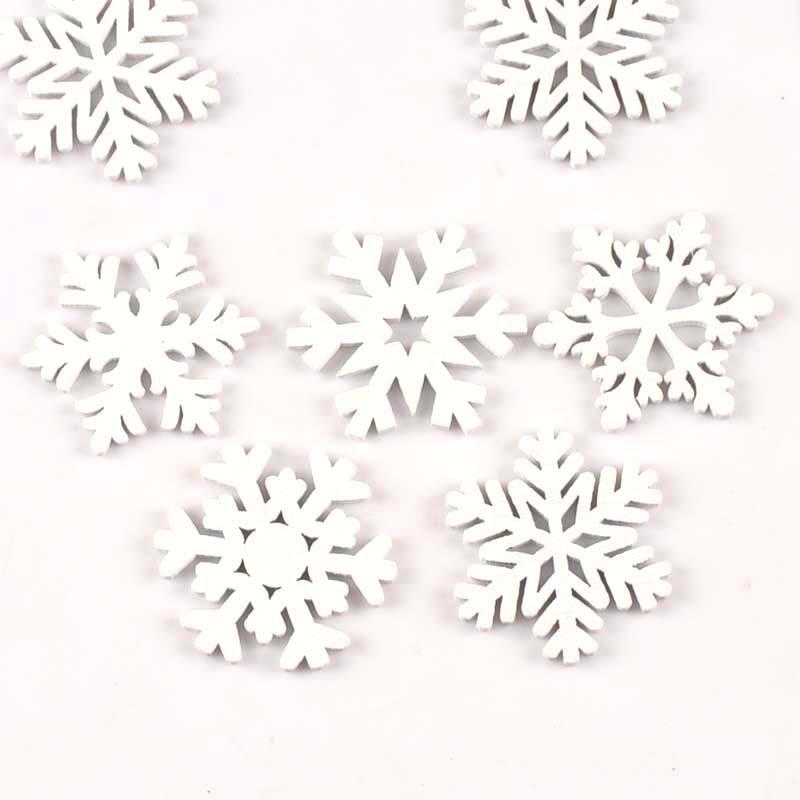 15Pcs/lot Christmas Snowflake White Wood Decoration Handicraft DIY Crafts Scrapbooking Wooden Ornament Accessories 35mm M1782