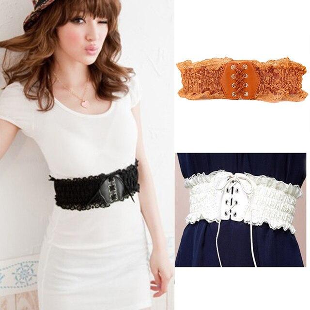 476d3dcfc12ad Women Belt Lace Elastic Wide Waist Belt Summer Dress Female Pu Leather  Girdle Wasitband