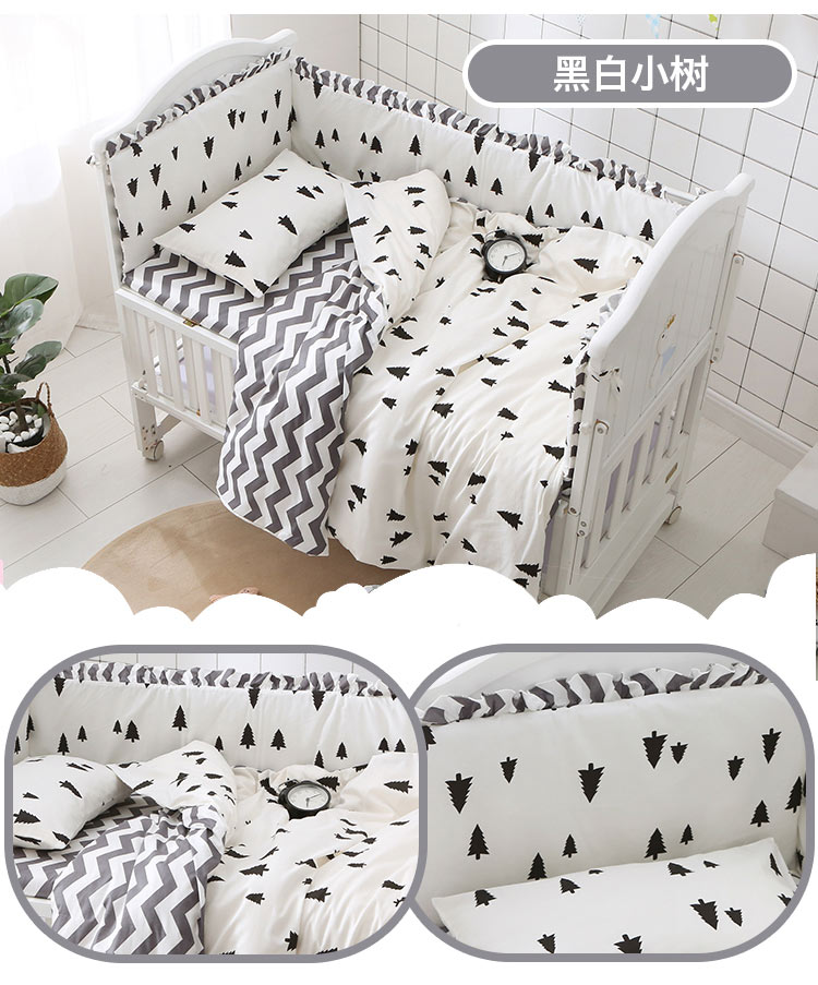 Promotion! 6/9pcs Pine Wave Kids Bedding Sets Baby Crib Bed Clothes Baby Bedding Girl Crib Sheets For Girl Baby Bed Set Quilt