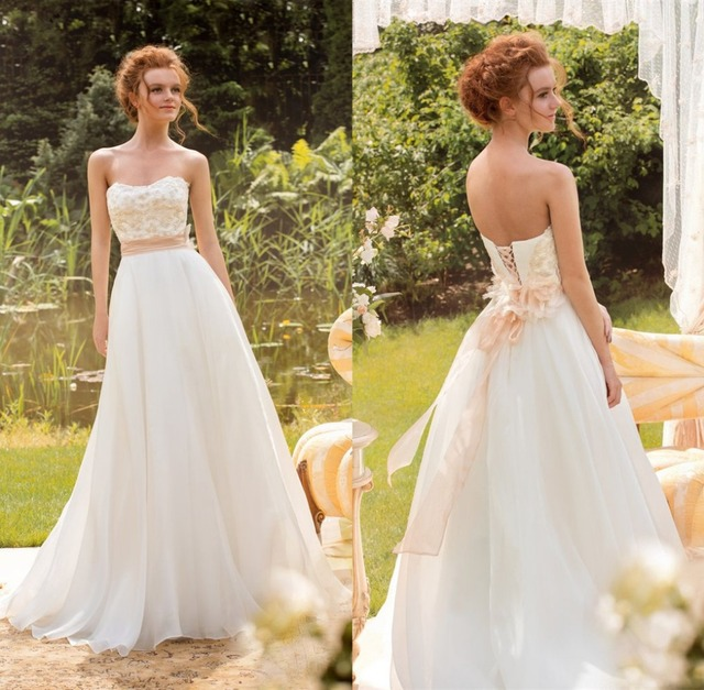 Low Price Chiffon Beach Wedding Dress 2017 Strapless Lace Up Back A Line Liques Bridal Gown
