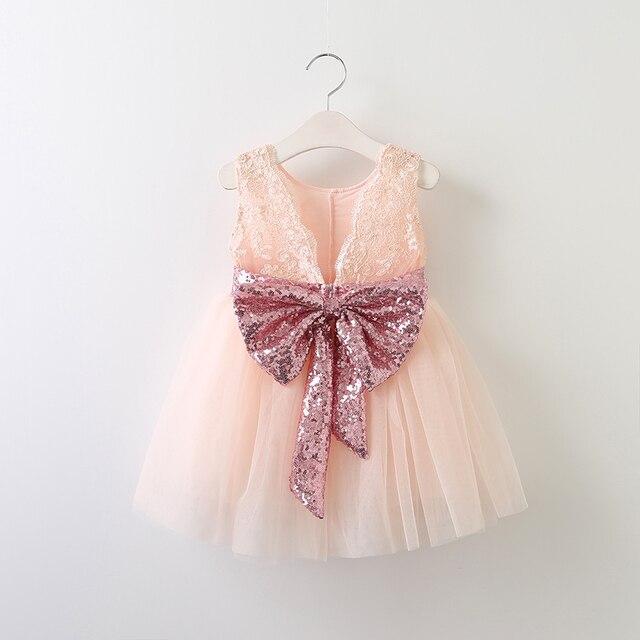 70d0a0fbda 2017 baby girl glitter bow tutu dress sleeveless sequined bow lace dresses  baby girl flower dresses open back Wholesale