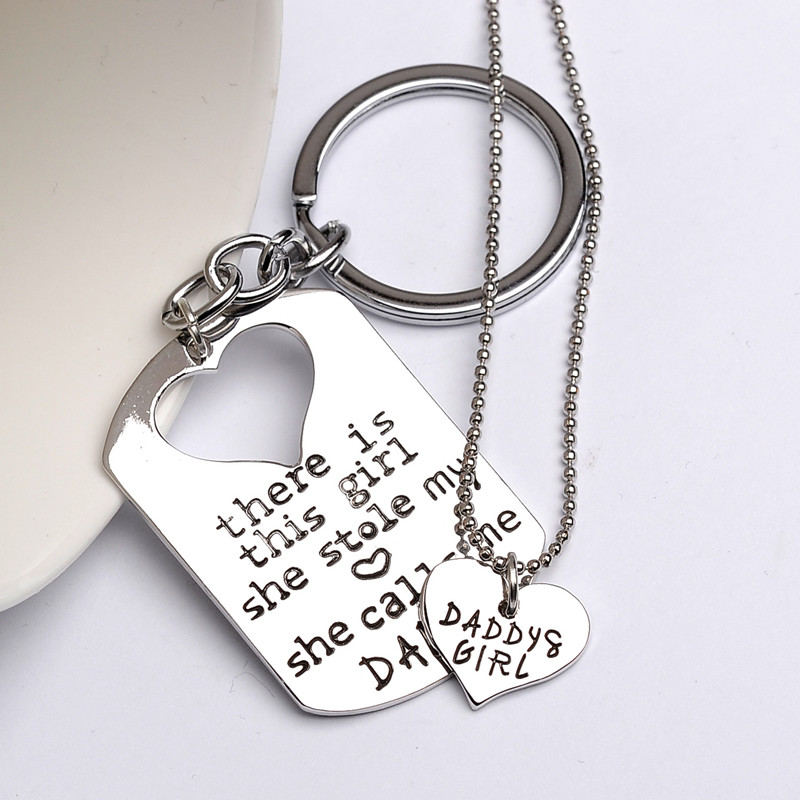Heart Necklace&Dog Tag Key chain Set For MOMMY Daddy Daughter ,Necklace Keyrings Set For Mother's Day Gift & Father's Day Gift