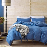 Sea Blue Solid Color Lace Bed Set Bedding Sets Comforter Sets Pillowcase Single Double King Size Pillowcase Bedspreads Soft