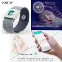 DOITOP Wearable Pulseira de Cuidados de Saúde Das Crianças Das Crianças Do Bebê Termômetro Do Bebê Elétrica Inteligente Monitor BT Termômetro do Agregado Familiar O5
