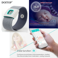 DOITOP Wearable Baby Smart Electric Thermometer Wristband Children Kids Baby Health Care Monitor Household BT Thermometer