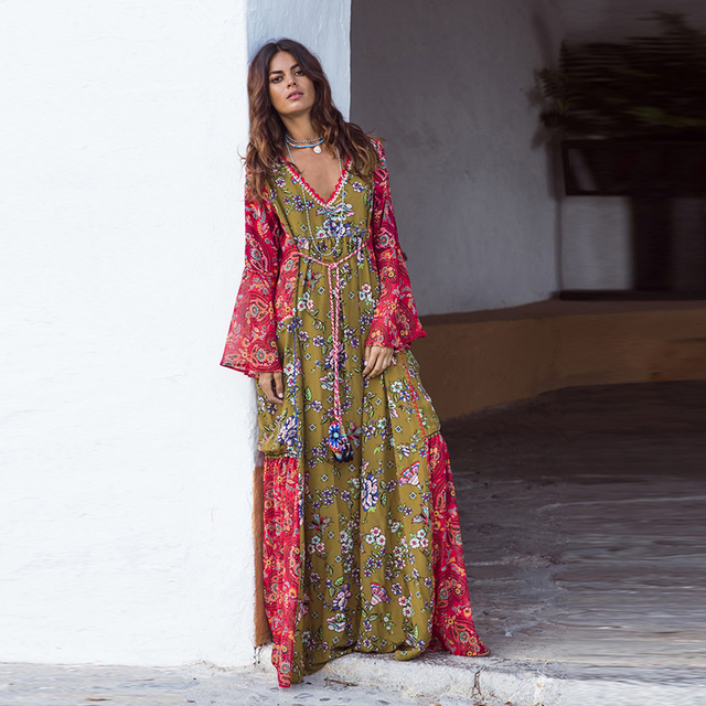 483a691bef US $23.38 39% OFF|BOHOFREE Long Gown Floral Print Maxi Bohemian Dress V  Neck Long Sleeve Boho Style 2019 New Women Dress Gypsy Dresses Vestidos-in  ...