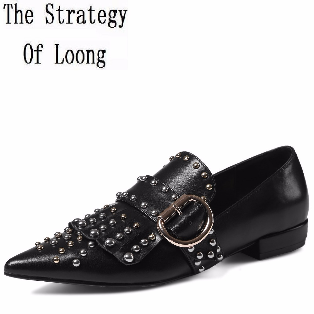 Full Grain Leather Rivets Buckle Pointed Toe Spring Autumn Flat Casual Shoes Real Leather Fashion Lady Shoes 20170207 spaghetti strap asymmetric tie dye plus size top