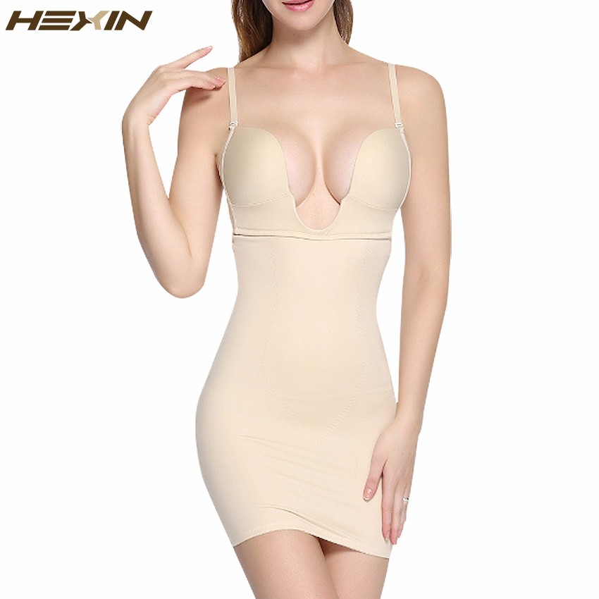 7b3f8cc324b6a Detail Feedback Questions about HEXIN Women Slimming Shapewear Sexy U  Plunge Wedding Bodysuit Firm Control Body Shaper Waist Trainer Slim Full  Slip Dress on ...