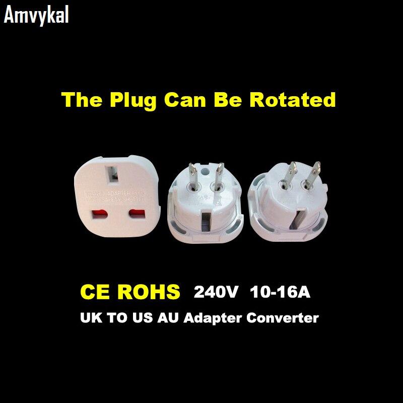 Amvykal Universal Travel Socket 9628 UK To US AU Plug Adapter Converter Electrical Plug Adaptor Safety Switch Plug 1000 pcs/lot