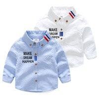 تصميم القطن الأطفال قميص 2018 ربيع الخريف جديدة طويلة الأكمام تجعل الحلم happe إلكتروني نمط بنين القميص الأبيض