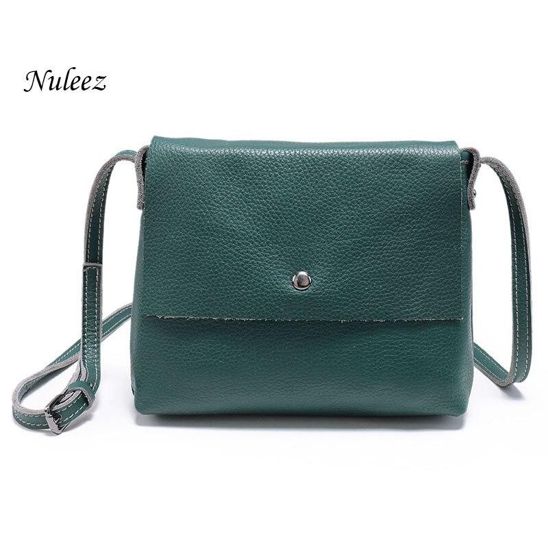 ФОТО Nuleez Women Messenger Bag Ladies Genuine Leather Handbags Real Cowhide Organizer Crossbody Shoulder Bag Female 4102
