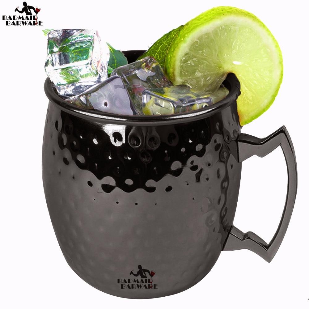 550ml Black Drum Type Moscow Mug 304 Stainless Steel Hammered Beer Cup Water Glass Drinkware