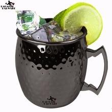 Tipo de tambor negro 550ml Taza de Moscú 304 Taza de cerveza martillada de acero inoxidable Taza de cerveza Vaso de agua Vaso de agua