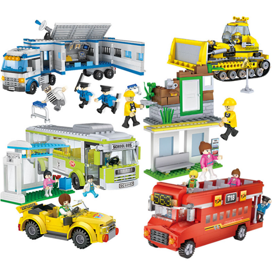 City Series Cogo Building Blocks Bus school bus bulldozer police car Kids Enlightenment building bricks Children Toys Gift kaygoo building blocks aircraft airplane ship bus tank police city military carrier 8 in 1 model kids toys best kids xmas gifts