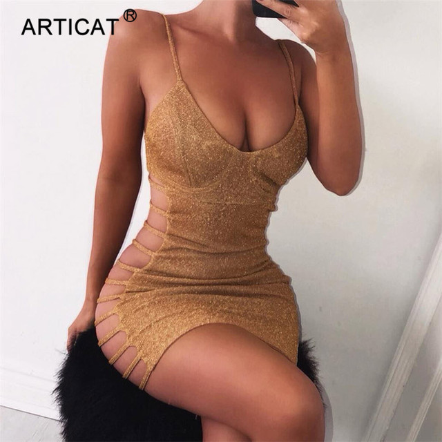 Articat Side Hollow Out Sexy Bodycon Bandage Dress Women Spaghetti Strap V Neck Mini Summer Dress Casual Party Dress Vestidos