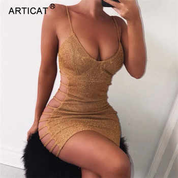 Articat Side Hollow Out Sexy Bodycon Bandage Dress Women Spaghetti Strap V Neck Mini Summer Dress Casual Party Dress Vestidos - DISCOUNT ITEM  40% OFF All Category
