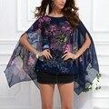 Элегантных Женщин Лето Batwing Рукавом Свободные Шифон Большой Цветочный Печати Блузка Топы 4 Цвета