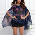Elegant Women Summer Batwing Sleeve Loose Chiffon Big Floral Print Blouse Tops 4 Colors