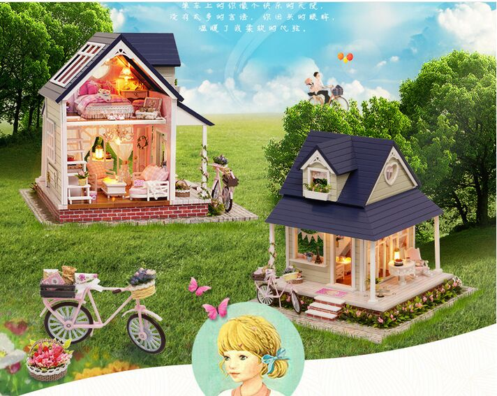 New arrive Large Christmas GIFT  DIY  bicycle angel house Wooden House With Furniture  with dustproof 3D Puzzle  Toy Gifts wooden 3d building model toy gift puzzle hand work assemble game woodcraft construction kit merry christmas castel shop store