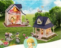 New arrive Large Christmas GIFT DIY bicycle angel house Wooden House With Furniture with dustproof 3D Puzzle Toy Gifts