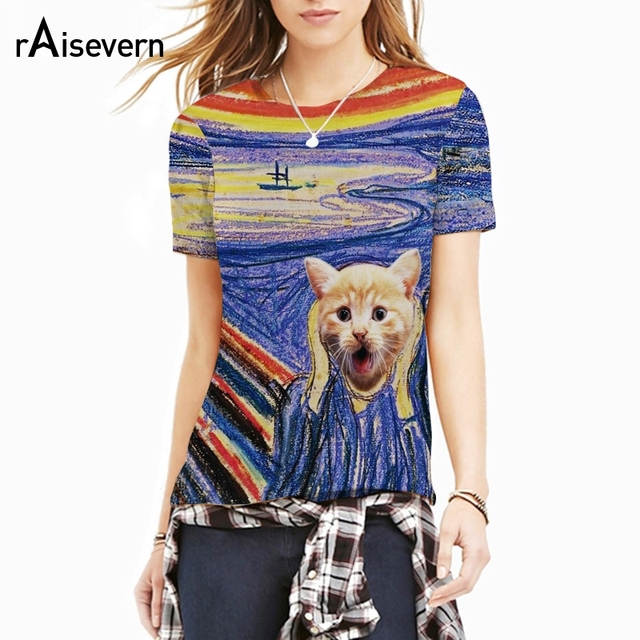 a281275b699a Raisevern New Animal Cats Print 3D T Shirt Galaxy Space Kitten Cat T-shirt  Harajuku Style Men Women Top Tees T-shirts