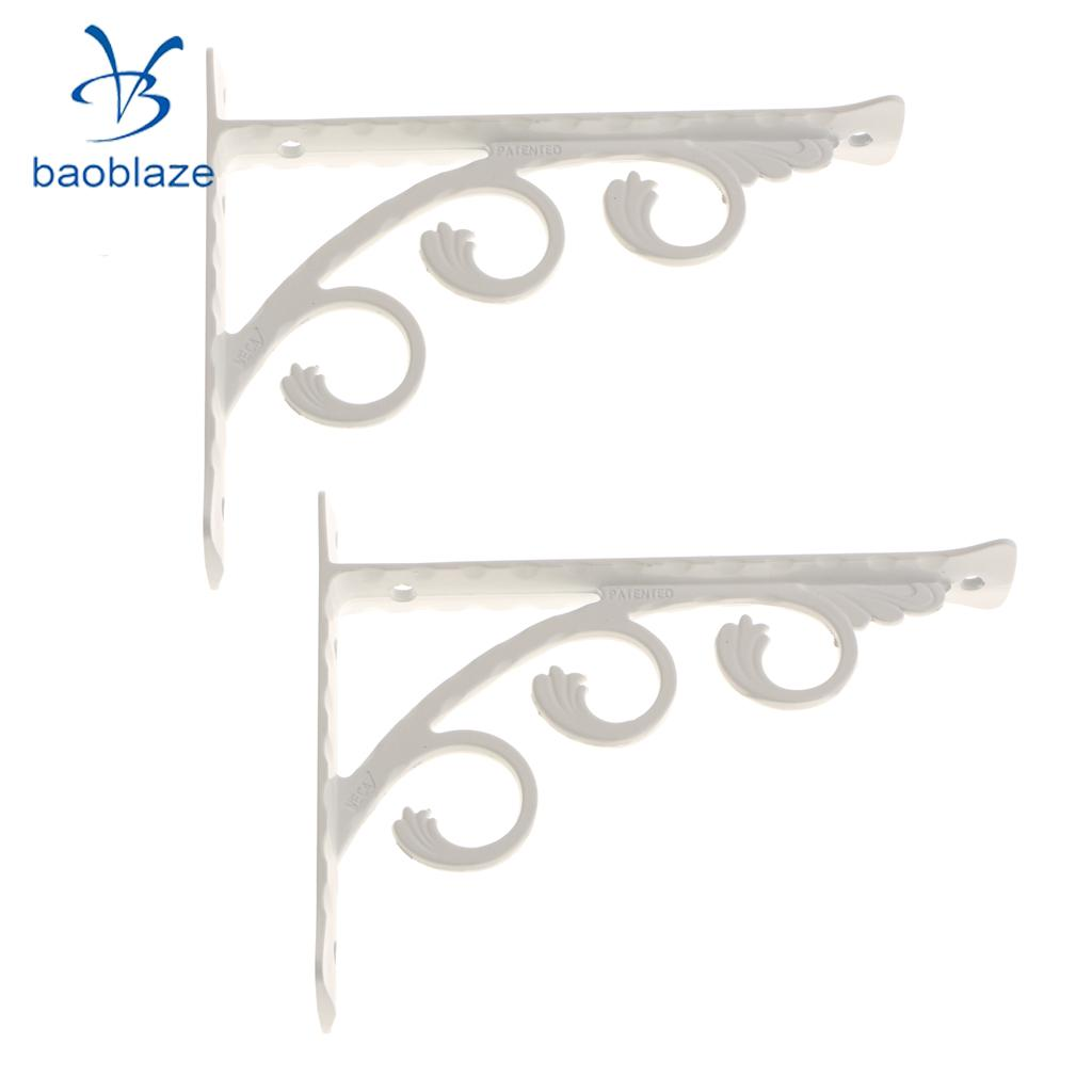 2 Pieces White L Shaped Shelf Bracket Wall Mounted Bathroom Kitchen Shelves Aluminum Holder Hollowing Art For Home Improvement