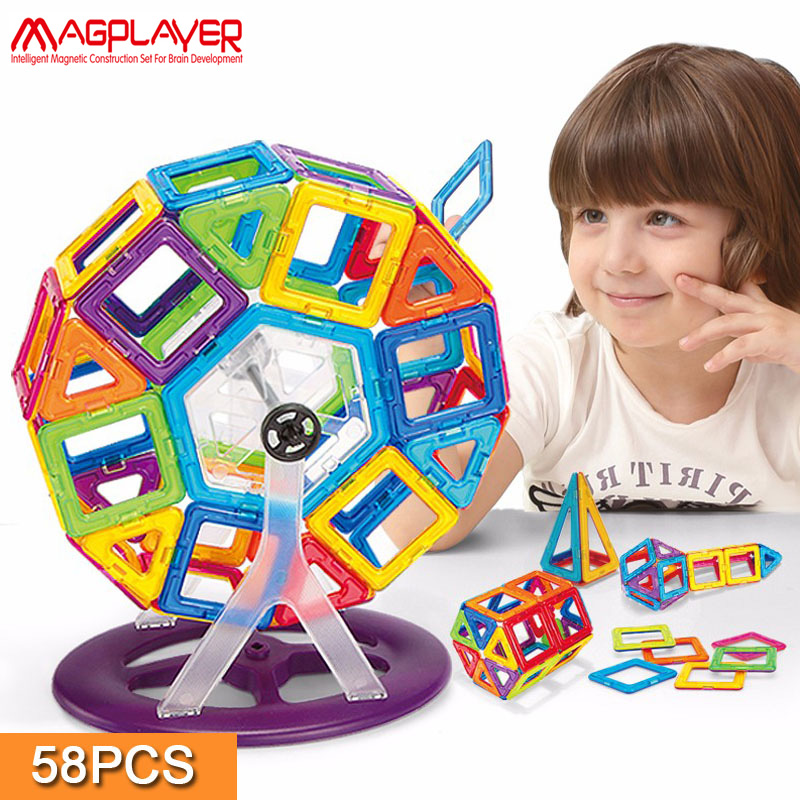 Magplayer Magnetic Blocks 58pcs Mini Magnetic Blocks 3D DIY Ferris wheel Magnetic Designer Educational Toys Gifts For Children hot sale 1000g dynamic amazing diy educational toys no mess indoor magic play sand children toys mars space sand