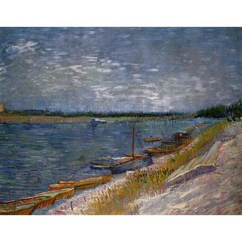 High quality Vincent Van Gogh paintings Moored Boats oil on canvas hand-painted Home decor