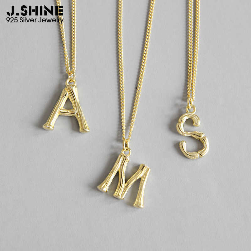 JShine INS Hot 925 Sterling Silver Necklace Simple Small English Letter Pendant Necklace Female Gold A S M Alphabet Necklace