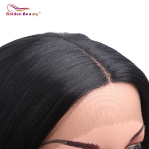 Image 4 - 16inch Short Body Wave Wig Brown Synthetic Lace Front Wig Heat Resistant Natural Black Bob Wig For Women Cosplay Golden Beauty
