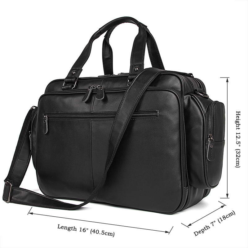 """HTB1F0KDQCzqK1RjSZFLq6An2XXaX Men's genuine leather briefcase 16"""" Big real leather laptop tote bag Cow leather business bag double layer messenger bag"""