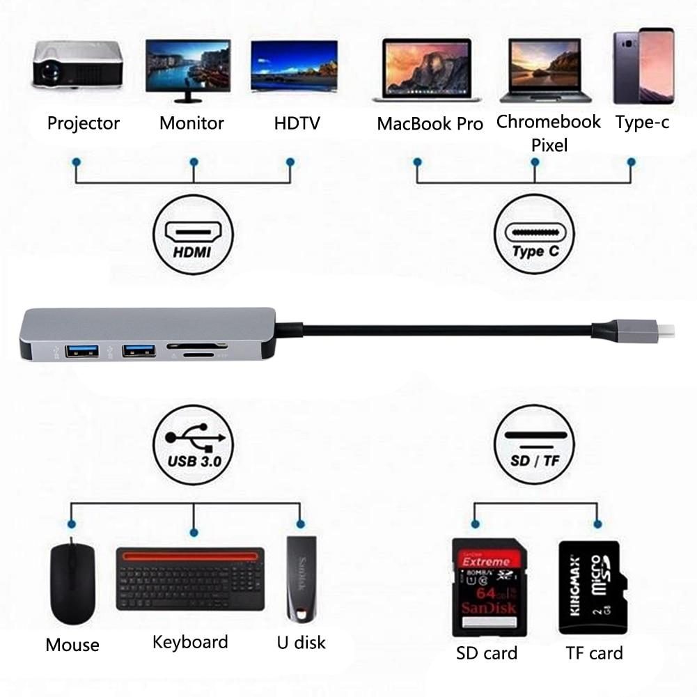USB-C USB C Hub Aluminium Alloy Type-C Hub Adapter 4K HDMI 2 Ports USB 3.0 Ports SD/TF Card Reader for Macbook 5 Gbps