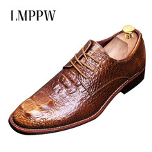 Genuine Leather Men Oxford Shoes Handmade Dress Luxury Brand Business Wedding Brogue Black Red Blue