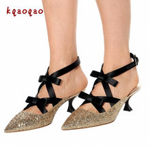 Gold Glitter Leather Shoes Woman Butterfly-knot Novel Heels Gladiator Sandals  Women Pumps Fashion Dress Sandalias Mujer 2018 New d4c5c766197e