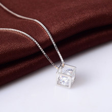 New Arrival 925 Sterling Silver Dazzling Square Shape Pendant Necklaces for Women Fine Collares Jewelry(China)