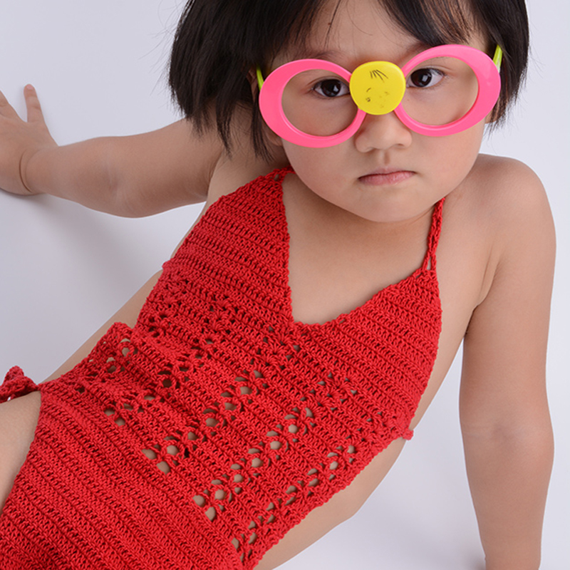 2019 New Girls Crochet Swimwear Children One-Piece Suits Sexy Bikini Swimwear Costumes Kids Toddler Bathing Suits Hot Sale