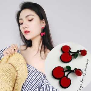 2018 Fashion Jewelry Rhinestone Crystal Lovely Red Cherry Pendant Earrings For Women Girls Creative Art Fruits Plants Earrings