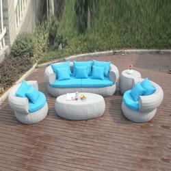 5-pcs new design hotel rattan sofa Pastoralism Home Indoor / Outdoor Rattan Sofa For Living Room