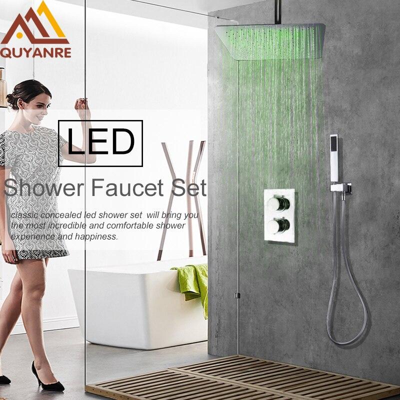 Quyanre Concealed LED Change Rainfall Shower Faucets Set Ultrathin Shower Head Handheld Shower Mixer Tap Bath&Shower Faucets
