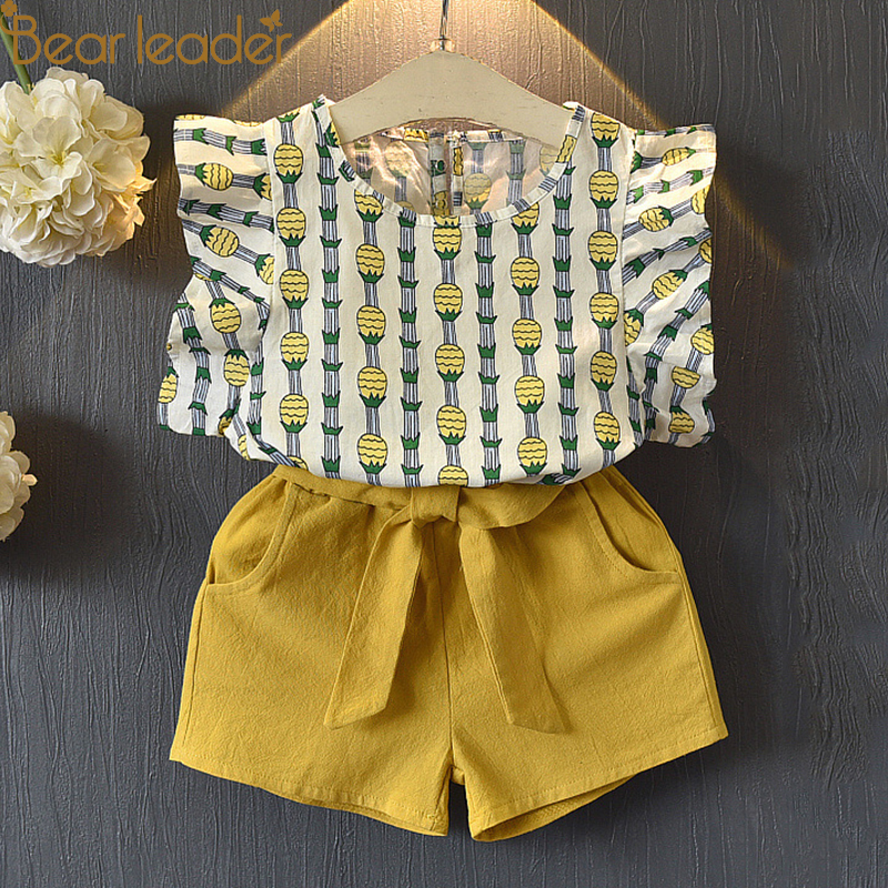 Bear Leader Girls Clothing Sets 2018 Summer New Girl Cute Pineapple Flying Sleeve T-shirt + Shorts Set Child Two Piece Set