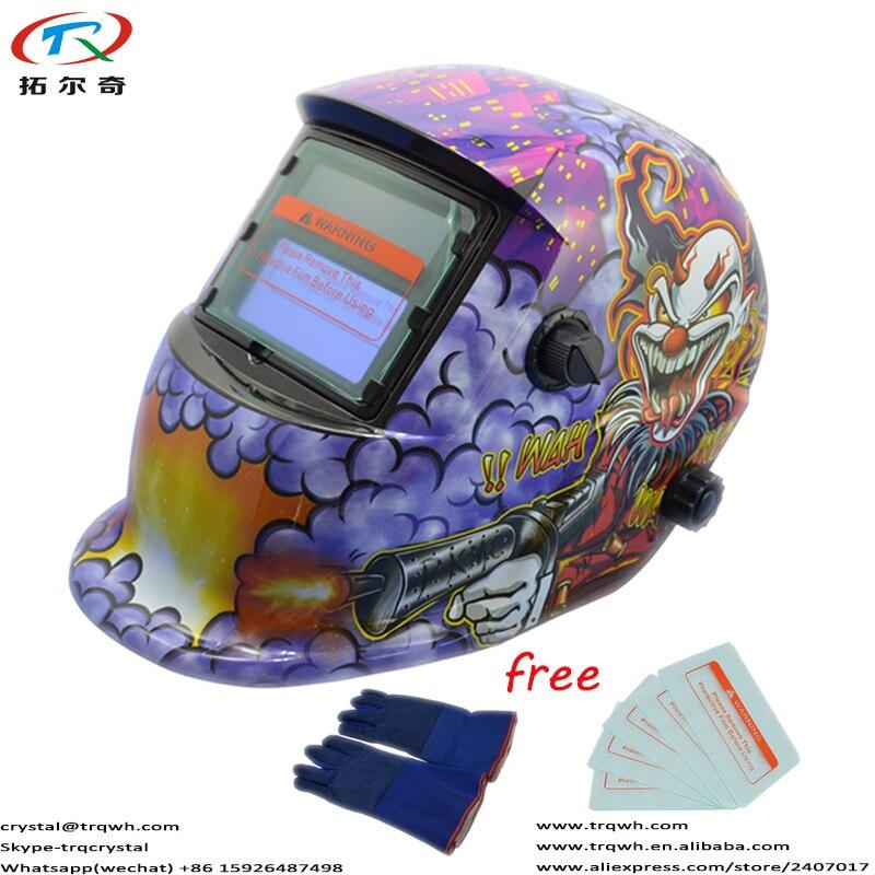 CR2032 casque de soudage à assombrissement automatique remplaçable par batterie au Lithium avec fonction de vérification automatique + gant de soudage bleu + protecteur 5 pièces