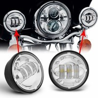 4 1/2 Motorcycle LED Auxiliary + 4.5 Brackets With Trim Ring For Harley Street Glide for Harley Touring Electra Glide