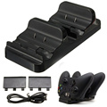 Hot Sale Newest DC 5V Black Dual Charging Dock Station Charger+ 2 Batteries For XBOX ONE Wireless Controller