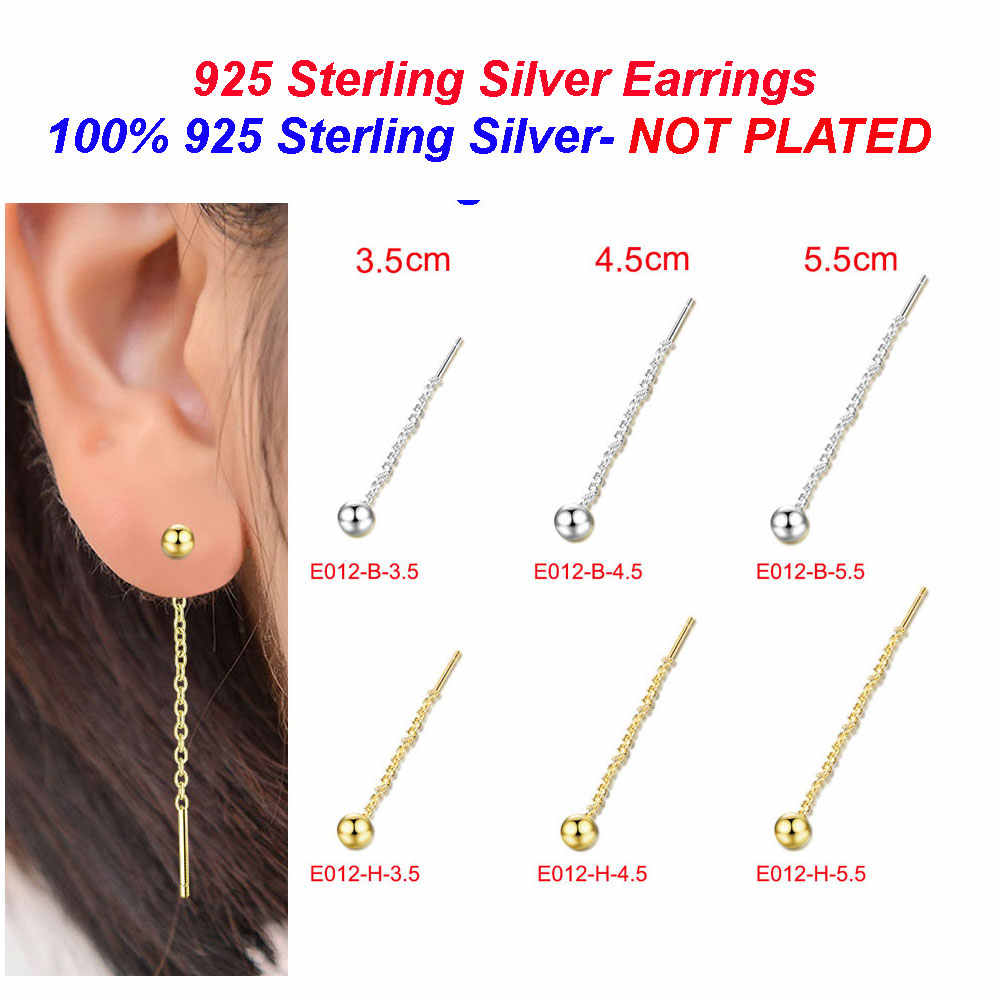 100% 925 Sterling Silver Glossy Bead Earrings Wholesale Vnistar Ball Bead Earrings for Women Stud Earrings