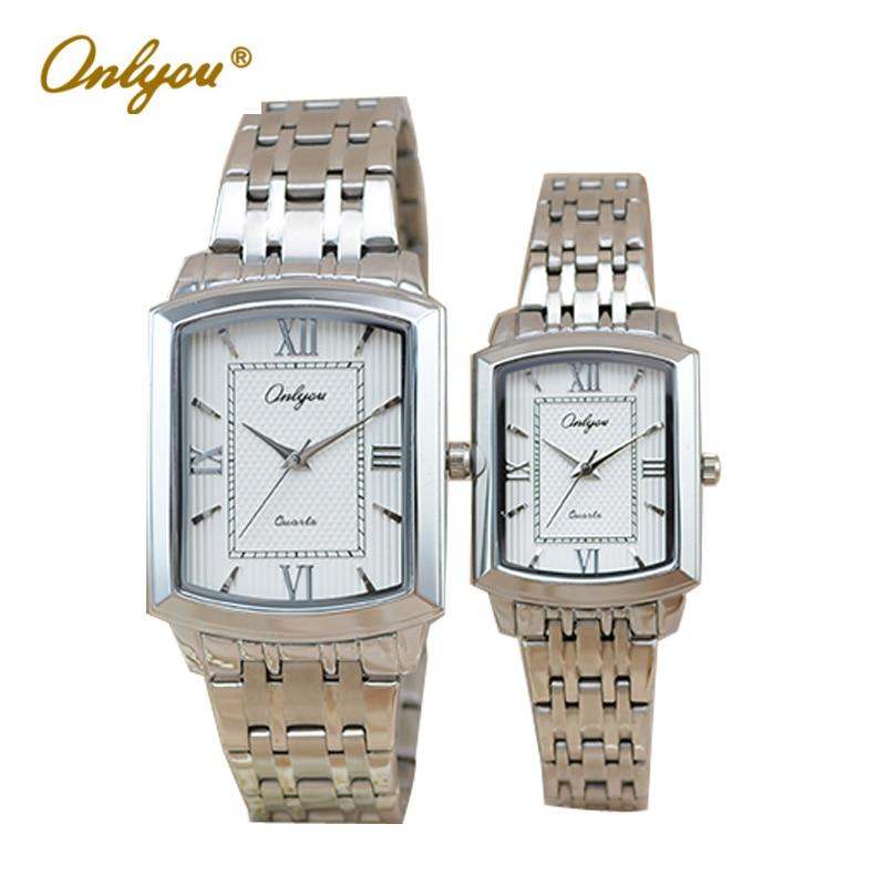 Women Men Quartz Silver Watches Onlyou Brand Luxury Ladies Dress Watch Steel Wristwatches Male Female Date Clock 8877